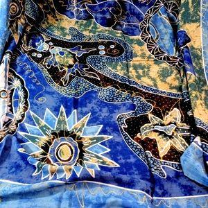 """Accessories - Beautiful Batik Wrap Aquatic Blues & Gold 62 X 46"""""""